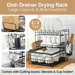 2/3 Tier Large Dish Drying Rack and Drainboard Set with Utensils Holder Cutting Board Holder Wine
