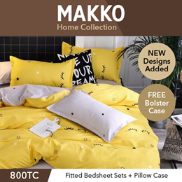 [MAKKO] New Designs Added ★ Fitted Bedsheet Set with Pillow and Free Bolster Case ★ Quilt Cover