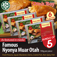 [Bundle of 5 packs] No.1 Best Seller Otah HALAL Chunky Nyonya Muar Otah / 6 Flavours / Frozen Fresh