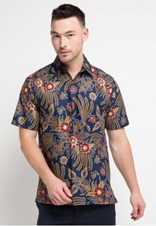Rianty Batik Shirt Male Hem George Dark Blue 3CE12AABD200A5GS