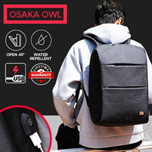 Osaka Owl Best Laptop Commuter USB Men Sporty Backpack.Black Color