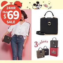 Gracegift-Disney Mickey Mouse retro square shoulder bag/Women/Ladies/Girls Shoes/Taiwan Fashion
