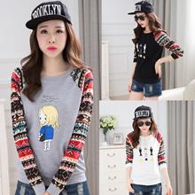 Autumn new style t-ladies   clothing round leader Korean fashion flower mosaic size Joker t top