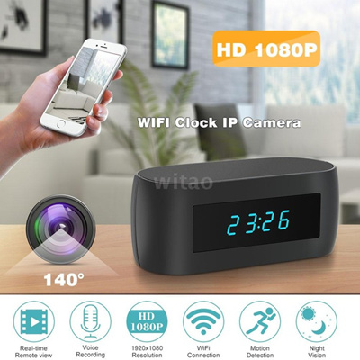 1080P HD Wireless WIFI Hidden Spy Alarm Clock IP Camera Support Night  Vision APP Control Video And A