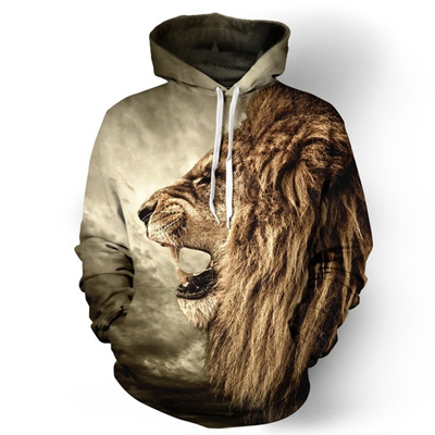 b2d8594f4 Qoo10 - New Fashion Women men 3d Sweatshirt Printed Lion Couples ...