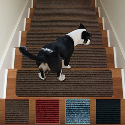 Stair Treads Non-Slip Carpet Indoor Set of 13 Brown Carpet Stair Tread  Treads Stair Rugs Mats Rubber