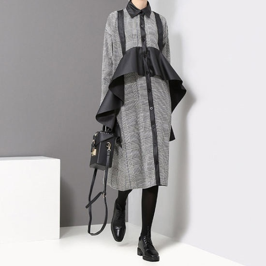 リッチマーケット】女性ユニケチェックスワローワンピースUQ7OP302 面ワンピース/ 韓国ファッション