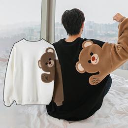남성 라운드 기모 맨투맨 추동 곰돌이 프린트 긴팔 티셔츠/무료배송