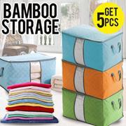 [PROMO HEMAT] *GET 5 PCS* Storage Bag Baju Organizer Bamboo Tempat Penyimpanan Charcoal Bambu