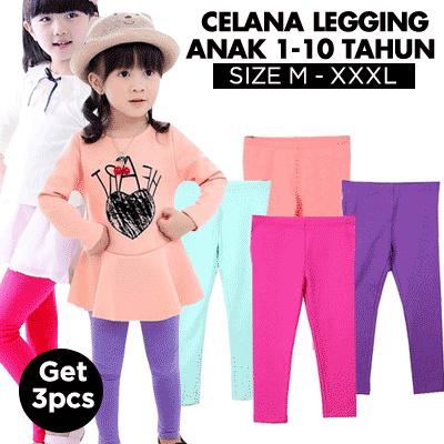 3 Pcs Celana Legging Anak 1-12 Tahun / Bahan Spandek Kaos Cotton Dan Spandek Balon Deals for only Rp74.000 instead of Rp74.000