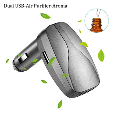 Car Charger Adapter, Ionic Air Purifier and Essential Oil Diffuser for Car, Dual Usb Port Fast Car C