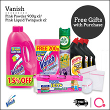 [RB]【Bundle of 2!】Vanish Pink powder 900G + 200G/ Liquid TP 1L | Removes stubborn stains in 30s