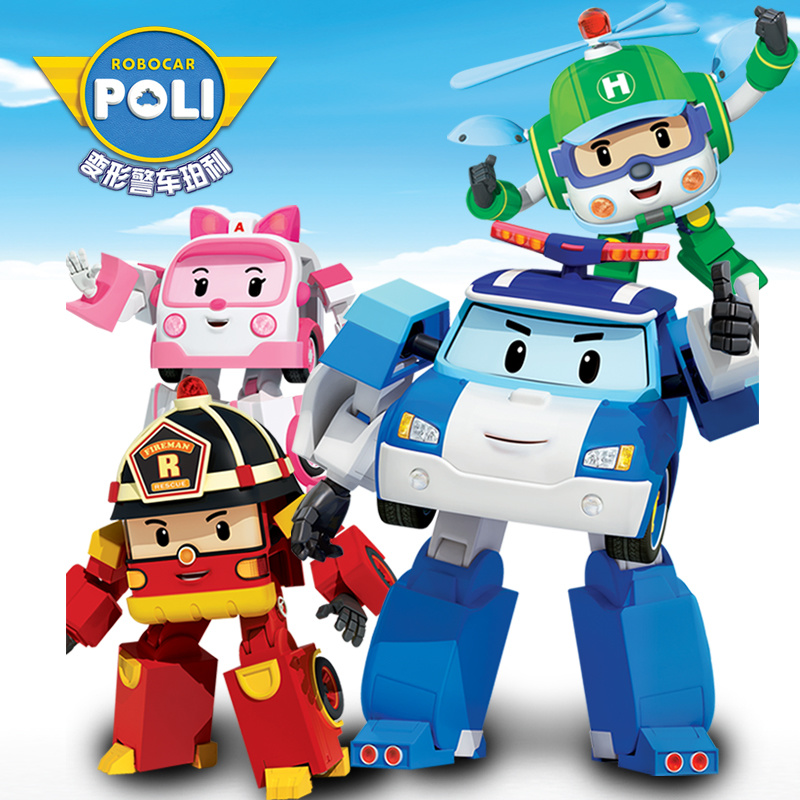 Robocar Poli Poli Amber Roy Helly Transformable Toys Figures Robots Car Helicopter Police Fire Engine Truck Ambulance Children Toddler Boy