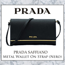 Prada Saffiano Metal Wallet On Strap (Nero)
