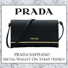 Prada Saffiano Metal Wallet On Strap (Nero)