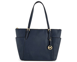 Michael Kors Jet Set Item Large East West Top Zip Leather Tote (Navy)