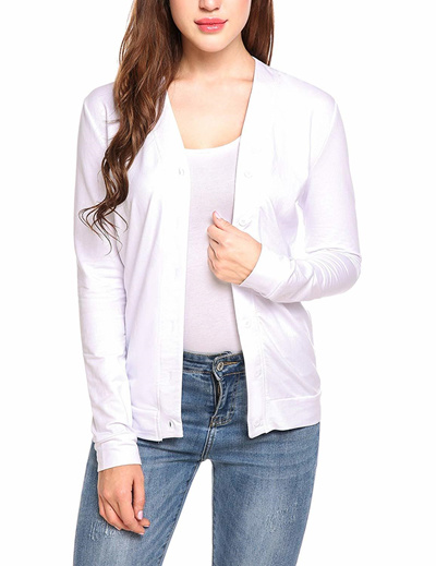 4a01c2027d1d Qoo10 - Meaneor Womens V Neck Button Down Long Sleeve Basic Soft ...