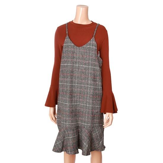 ナインステップ一チェイル毛織チェックフリルひもOPSN17NO7407R 面ワンピース/ 韓国ファッション