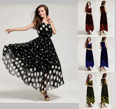 efdc148bfe73 Qoo10 - Women Maxi Boho Long Evening Dress Black Cocktail Polka Dot ...