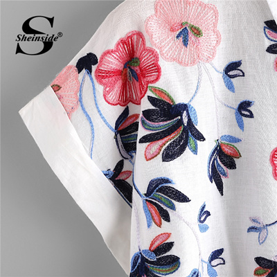 d3ee725859fe25 discount Sheinside White Floral Embroidery Shirt Women Roll Up Sleeve  Button Top 2018 Summer Short S