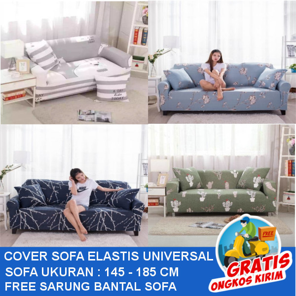 COVER SOFA ELASTIS UNIVERSAL / FREE SARUNG BANTAL 1PC Deals for only Rp205.000 instead of Rp205.000