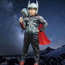 Halloween Thor Clothing Children Cosplay Anime Costume Quake Hammer Muscle Clothing Glow Helmet Thor