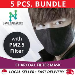 PRE-ORDER [2pcs Bundle] #1 Charcoal Face Mouth Filter Mask  *Haze Mask PM2.5 Filter  *Washable