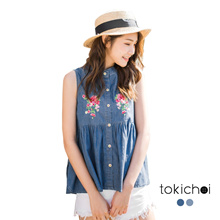 TOKICHOI - Buttoned Floral Tank Top-180394