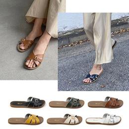 外穿拖鞋 / 2020年夏季新款韩版一字拖复古简约网红沙滩露趾凉拖鞋