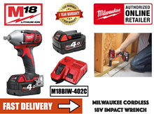 Milwaukee M18BIW12-402C M18 Compact 1/2 inch Impact Wrench 18V c/w 2 nos 4.0AH Batteries and Charger