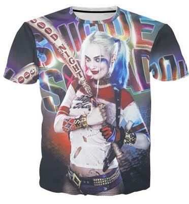 e02f2ba58 Spring and summer new mens creative printing 3D suicide squad clown female  short-sleeved T