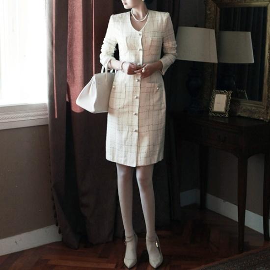 ディントゥD2922ブロークン・ラインチェックポルボ開いたワンピース 綿ワンピース/ 韓国ファッション