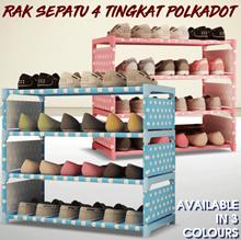 [Clearance Sale] Rak Sepatu 4 tingkat Polkado t/ Polos