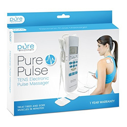 PurePulse Electronic Pulse Massager - Portable Handheld TENS Unit Muscle Stimulator for Pain...