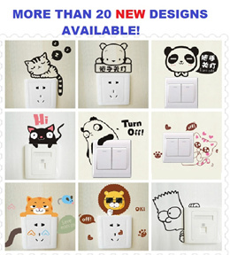 [MANY DESIGNS AVAIL] Home Decor Sticker Cute Wall Switch Decal Kitchen Living Study Room Animal