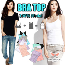 *SweetangelShop* Up to XXL Size* 100% Modal padded Camisole / Tank Top / T Shirt Bra / Spaghetti