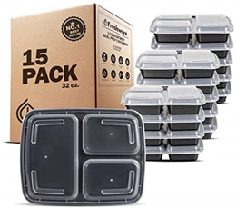 [Home] Freshware 150-Pack 3 Compartment Bento Lunch Boxes with Lids 3 Compartment 32 oz Black
