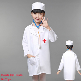 1Set Kids White Gown Uniform Dress Doctors Nurses Hat+Costume Gifts Fashion Fancy Girls