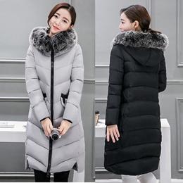 Plus Size L-4XL Women Long Winter Down Jacket Fur Collar Hooded Warm Outerwear Thick