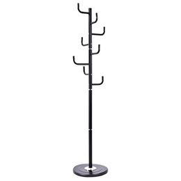 (Arama-ix) Stand Coat Hangers 69 Tree Rack Hat Holder Entryway Umbrella Clothes with 8 Hooks Black-
