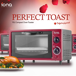 IONA GL103 10L Toaster Oven | Red Color | Able to Fit 4 Breads