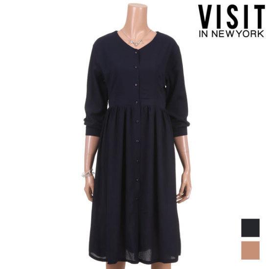 ・ビジット・インニューヨークポーリングボタンラインワンピースVTHOP05 面ワンピース/ 韓国ファッション