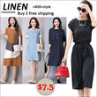 【LAZYWOMAN】 BUY 2 OR 3 FREE SHIPPING Linen national art style traditional clothing/Woman linen dress/plus size/maternity/Loose tops/Comfort/atmosphere/high quality