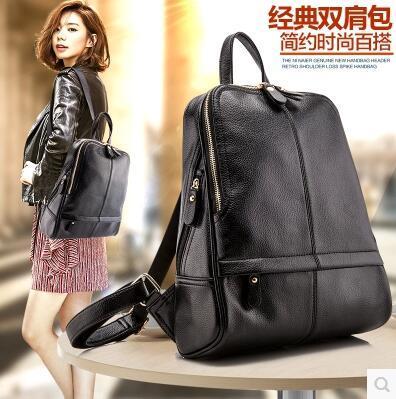 actual size. prev next. Genuine Leather Backpack Bag Women Fashion Travel  Backpack Female Cattlehide Handbagbag Shoulder Bag bc20c10165a04