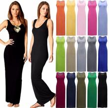 Fashion Women Sleeveless Casual Maxi Tank Dress