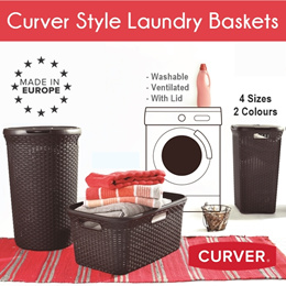 Curver Rattan Style Hamper Brown/White Storage Laundry Basket Washable Plastic Clothes Basket
