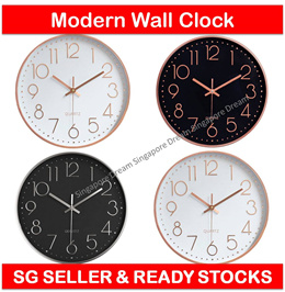 Quartz Battery Operated Wall Clock for Living Room Home Office with Plastic Frame n Glass Cover 30cm