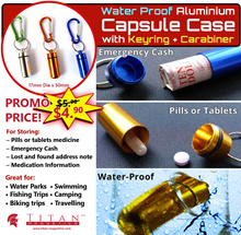 Waterproof Aluminium Pill Capsule Cash Stash Camping Gear Survival Keychain