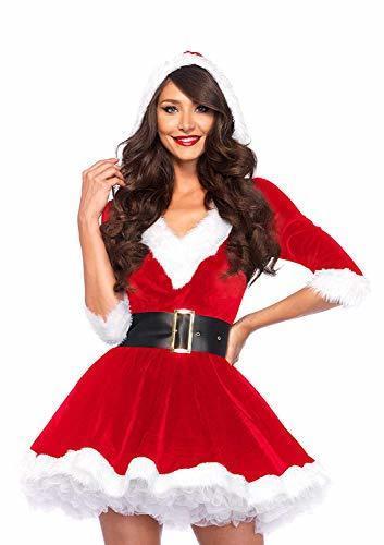 315f6f4e2b1 Qoo10 - Mrs. Claus Costume Christmas Role Play Outfits Hooded Dress ...