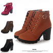 ** Local Seller ** 3 Colors Available ** T4209 Fashion Thick Heels Women Ankle Martin Boots Shoes